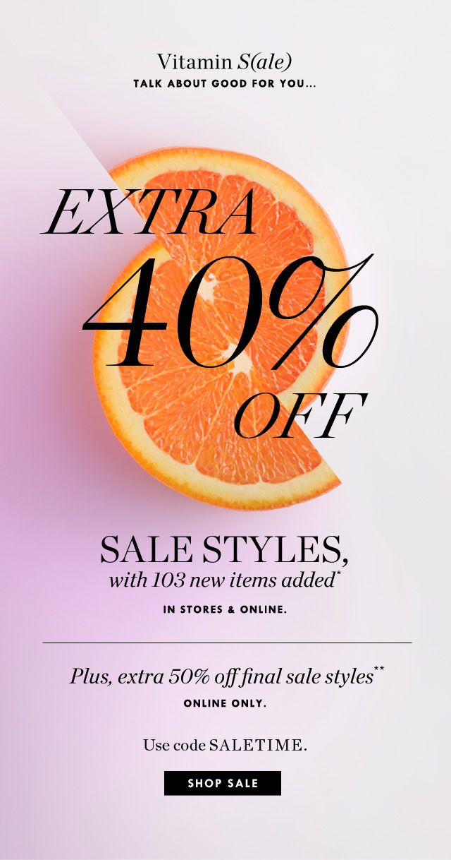 J.Crew: A little vitamin S (ale) to start the day: extra 40% -50% of sales style …