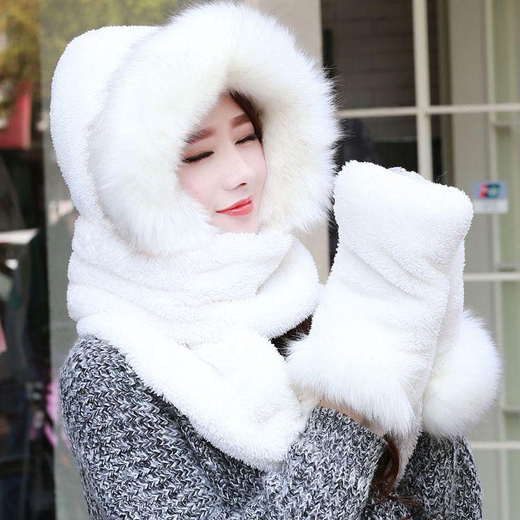 New Women Autumn Winter Hot Hat Scarf Gloves Set Artificial Fur Scarf 2017 Hot Sale P …