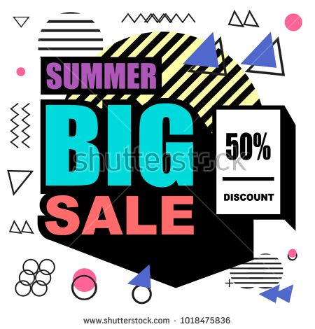 Summer big sale memphis style web tape template. Fashion and travel discount p …